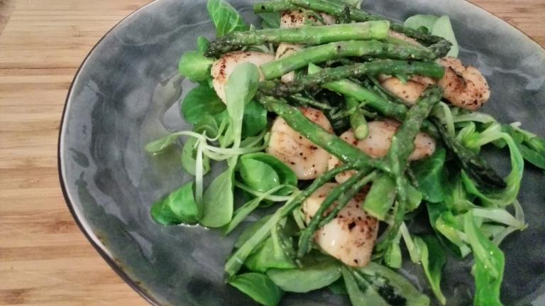 coquilles   zeekraal   groene asperges   veldsla